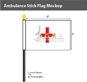 Ambulance Stick Flags 4x6 inch