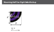 Mourning Pleated Half Fans - Right 3x3 foot (black & purple)