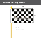 Checkered Racing Stick Flags 12x18 inch