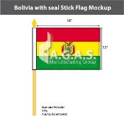 Bolivia Stick Flags 12x18 inch (with seal)