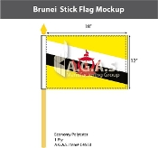 Brunei Stick Flags 12x18 inch