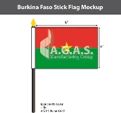 Burkina Faso Stick Flags 4x6 inch