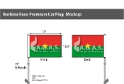 Burkina Faso Car Flags 10.5x15 inch Premium