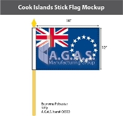 Cook Islands Stick Flags 12x18 inch