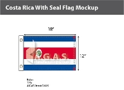 Costa Rica Flags 12x18 inch (with seal)