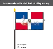 Dominican Republic Stick Flags 4x6 inch (with seal)