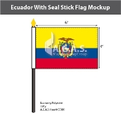 Ecuador Stick Flags 4x6 inch (with seal)