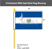 El Salvador Stick Flags 12x18 inch (with seal)