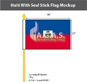 Haiti Stick Flags 12x18 inch (with seal)