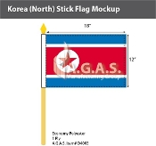 Korea North Stick Flags 12x18 inch