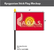 Kyrgyzstan Stick Flags 4x6 inch