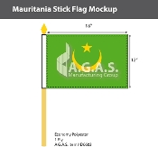 Mauritania Stick Flags 12x18 inch