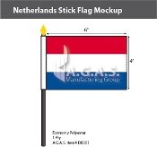 Netherlands Stick Flags 4x6 inch
