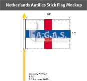 Netherlands Antilles Stick Flags 12x18 inch