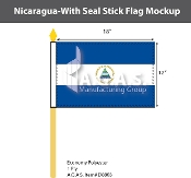 Nicaragua Stick Flags 12x18 inch (with seal)