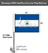 Nicaragua Car Flags 12x16 inch Economy (with seal)