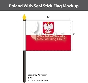 Poland Stick Flags 4x6 inch (with seal)