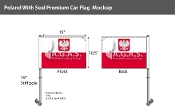 Poland Car Flags 10.5x15 inch Premium (with seal)