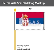 Serbia Stick Flags 12x18 inch (with seal)
