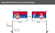 Serbia Car Flags 10.5x15 inch Premium (with seal)