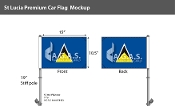 St. Lucia Car Flags 10.5x15 inch Premium