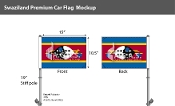Swaziland Car Flags 10.5x15 inch Premium
