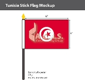 Tunisia Stick Flags 4x6 inch