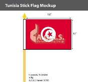 Tunisia Stick Flags 12x18 inch