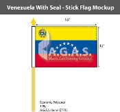 Venezuela Stick Flags 12x18 inch (with seal)