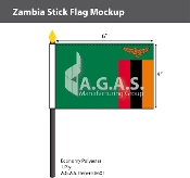 Zambia Stick Flags 4x6 inch