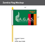 Zambia Stick Flags 12x18 inch