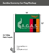 Zambia Car Flags 12x16 inch Economy
