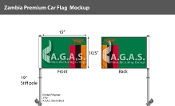 Zambia Car Flags 10.5x15 inch Premium