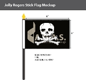Jolly Roger Stick Flags 4x6 inch