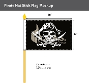 Pirate Hat Stick Flags 12x18 inch