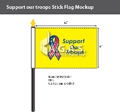 Support Our Troops Stick Flags 4x6 inch (yellow background)
