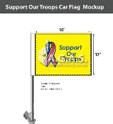 Support Our Troops Car Flags 12x16 inch Economy (yellow)