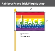 "Rainbow Peace Stick Flag 12""X18"""