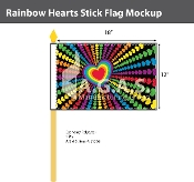 "Rainbow Hearts Stick Flag 12""X18"""