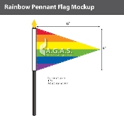 "Rainbow Pannant Stick Flag 4""X6"""