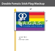 "Double USA Venus Stick Flag 12""X18"""
