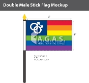 "Double USA Mars Stick Flag 4""X6"""
