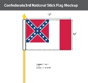 Confederate 3rd National Stick Flags 12x18 inch