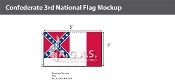 Confederate 3rd National Flags 3x5 foot