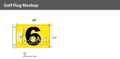 6th Hole Golf Flags 14x20 inch (Yellow & Black)