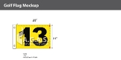 13th Hole Golf Flags 14x20 inch (Yellow & Black)