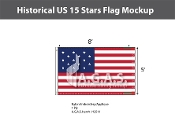Historical US 15 Stars Flags 5x8 foot
