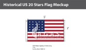 Historical US 20 Stars Flags 3x5 foot