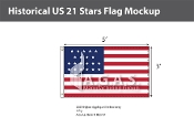 Historical US 21 Stars Flags 3x5 foot