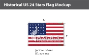 Historical US 24 Stars Flags 4x6 foot